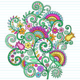 Psychedelische Blumen-Notizbuch-Gekritzel Lizenzfreies Stockbild