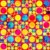 Psychedelische cirkel naadloos patroon met grungeeffect Royalty-vrije Stock Afbeelding