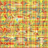 Psychedelische farbige Linien und geometrischer abstrakter Hintergrund der Wellen vector Illustration Stockbild