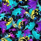 Psychedelische graffiti abstracte bloemen op een zwart achtergrond Naadloos textuur grunge effect Stock Afbeeldingen