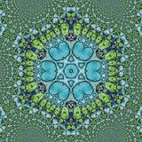 Psychedelische Henna Mandala Doodle Flower sechseckig stockbild