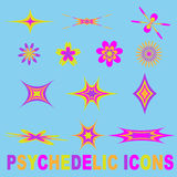 Psychedelische Ikonen eingestellt vektor abbildung