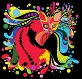 Psychedelische kat royalty-vrije illustratie