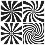Psychedelische spiraal met radiale grijze stralen De werveling verdraaide retro achtergrond Grappige effect illustratiereeks vector illustratie