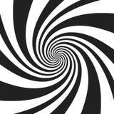 Psychedelische spiraal met radiale grijze stralen De werveling verdraaide retro achtergrond Grappige effect vectorillustratie royalty-vrije illustratie