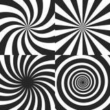 Psychedelische Spirale mit Radialstrahlen, Rotation, verdrehter komischer Effekt, Turbulenzhintergründe - Vektorsatz stock abbildung