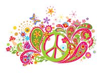 Psychedelische t-shirtdruk met het symbool van de hippievrede, vliegplaatzwam, kleurrijk abstract bloemen en Paisley stock illustratie
