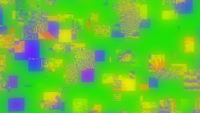 Psychedelische vibrierende Neonpartikel des einzigartigen Fehlers Gelegentliche mehrfarbige Gegenstände vektor abbildung