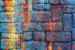 Psychedelischer Hintergrund des ursprünglichen bunten Regenbogens Makronahaufnahmewand, gemalt der alten Farbe Stockbilder