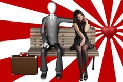 Psychedelischer Mann der Liebesverhältnis 3d und schüchterne Frau Stockfotografie
