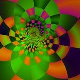 Psychedelisches Kreishintergrunddesign Kunstplakatidee Grünes glühendes Licht Abstrat Abbildung Stilvolles Fliesenmosaik Multi Sp lizenzfreie abbildung