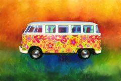 Psychedlic Hippie VW Van, Bus, Sixties royalty free illustration
