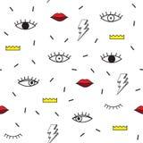 PSYCHEDLIC MEMPHIS STYLOWY BEZSZWOWY wzór GEOMETRYCZNA element tekstura 80S-90S projekt NA BIAŁYM tle royalty ilustracja