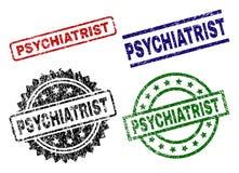 PSYCHIATRE texturisé endommagé Seal Stamps Illustration Libre de Droits