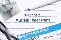 Psychiatric Diagnosis Autism Spectrum. Medical book or form with the name of diagnosis Autism Spectrum is on table of doctor surro. Unded by questionnaire to Stock Images