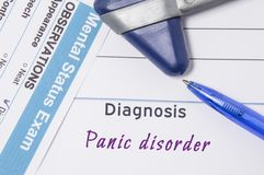 Psychiatric diagnosis Panic Disorder. On psychiatrist workplace is medical certificate which indicated diagnosis of Panic Disorder. Surrounded of questionnaire Stock Images