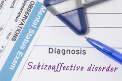 Psychiatric diagnosis Schizoaffective disorder. On psychiatrist workplace is medical certificate which indicated diagnosis of Schi. Zoaffective disorder Royalty Free Stock Photo