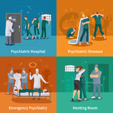 Psychiatric Illnesses Concept Icons Set Stock Photos