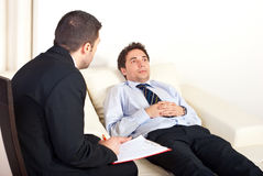 Psychiatrist with male patient Royalty Free Stock Photography