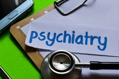 Psychiatry on Healthcare concept with green background royalty free stock photo