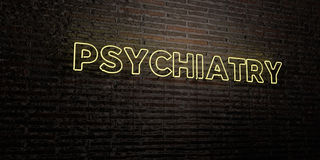 PSYCHIATRY -Realistic Neon Sign on Brick Wall background - 3D rendered royalty free stock image. Can be used for online banner ads and direct mailers Royalty Free Stock Images