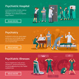 Psychiatryczni Illnesses sztandary Ustawiający ilustracji