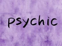 Psychic. Concept word on watercolor texture background stock photography