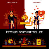 Psychic Fortune Teller Concept. With candles book and spell vector illustration vector illustration