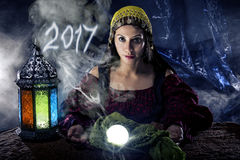 Psychic Fortune Teller Predicting 2017 Royalty Free Stock Photo