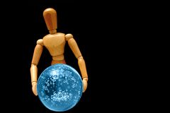 Psychic mannequin. Holding a blue orb Stock Photos