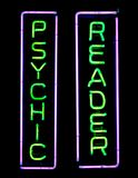 Psychic Neon Sign. Green and purple psychic neon sign Stock Photo