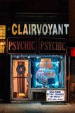 Psychic neon sign at night, in the East Village, Manhattan, New York City.  stock photo