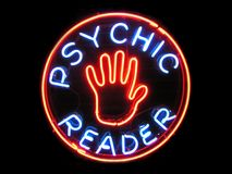 Psychic Reader Neon Sign. Psychic Reader with hand neon sign Royalty Free Stock Photos