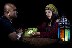 Psychic Reading. With a fortune teller and superstitious client. Astrology. Divination stock images