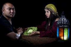 Psychic Reading. With a fortune teller and superstitious client.  Astrology. Divination Royalty Free Stock Images
