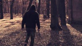Psychiczny maniacki mężczyzna z dużym bowie nożem w parku zdjęcie wideo