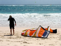 Psyching up. Getting psyched before hitting the water. Silver Sands, Barbados stock images