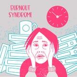 Psychische Gesundheiten Burnoutsyndrom Geistesstörung Vektor illustr stock abbildung