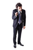 Psycho businessman with razor Royalty Free Stock Images