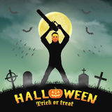 Psycho serial killer with mask and chainsaw in night graveyard Royalty Free Stock Photos
