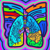 Psycho Smoke - vector illustration with lungs Stock Photo