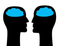 Psychoanalisys, dialog and communication concept. Psychoanalisys, dialog and communication concept with faces silhouettes and clouds. vector illustration Royalty Free Stock Images