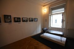 Psychoanalyselaag in Sigmund Freud-museum in Wenen Stock Foto