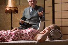 Psychoanalyst talking with despair woman stock photos