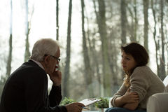 Psychoanalytic session with patient. Therapits at psychoanalytic session with patient Royalty Free Stock Photo