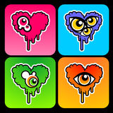 Psychodelic hearts Stock Image