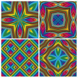 Psychodelic Pattern Set. Seamless funky pop art texture with optic three-dimensional illusion Stock Images