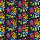 Psychedelic star pattern. Illustration of colorful psychodelic star pattern on a black background Stock Photos