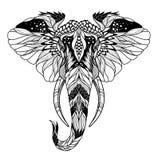 Psychodeliczny słoń głowy tatuaż Psychodeliczny słoń głowy tatuaż ilustracja wektor