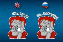 Psychologa obsiadanie w krześle słucha Duży set majchery w Angielskich i Rosyjskich językach Wektor, kreskówka Zdjęcia Royalty Free
